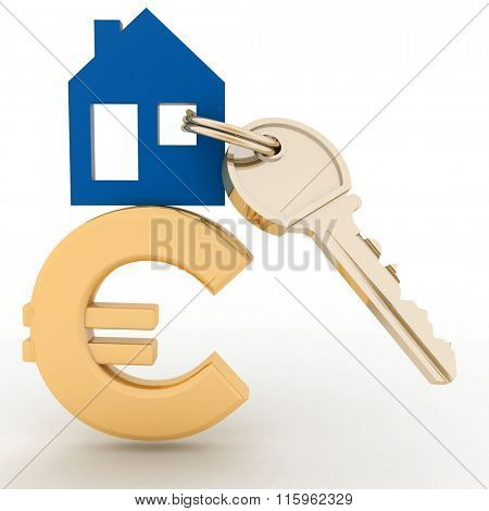 The house with a key on a euro sign. Concept real estate prices in the Europe