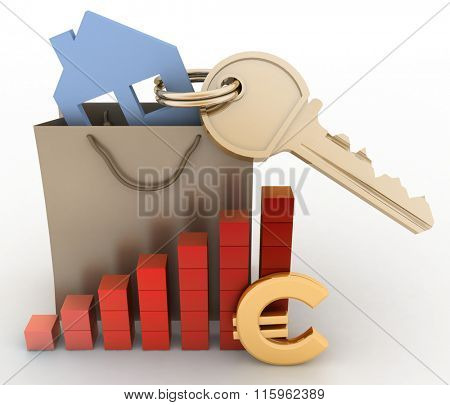 House with a key in a paper bag and a diagram. The concept of growth real estate prices in the Europe
