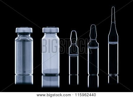 Different Ampoule With Liquid.