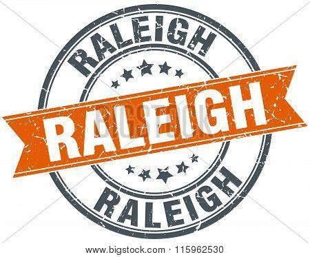 Raleigh orange round grunge vintage ribbon stamp