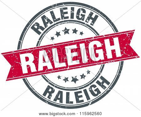 Raleigh red round grunge vintage ribbon stamp