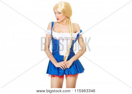 Woman wearing traditional Bavarian dress.