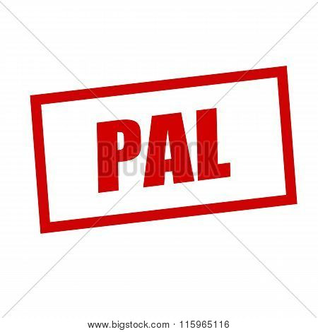 Pal Red Stamp Text On White