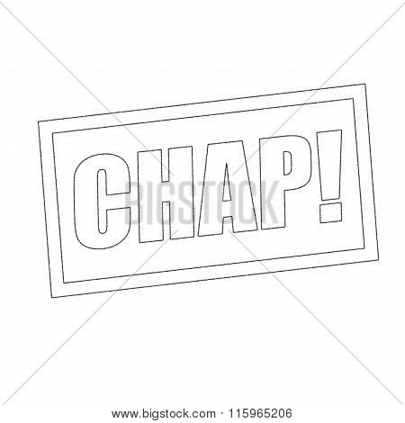 Chap Monochrome Stamp Text On White