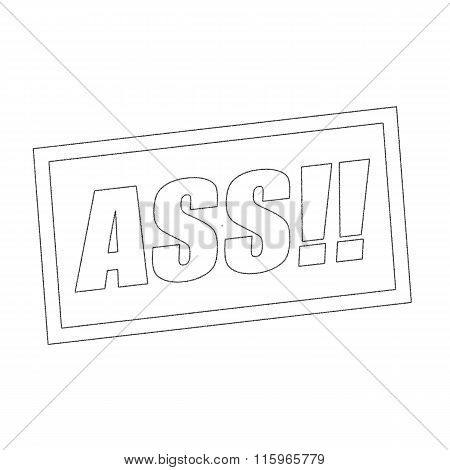 Ass Monochrome Stamp Text On White