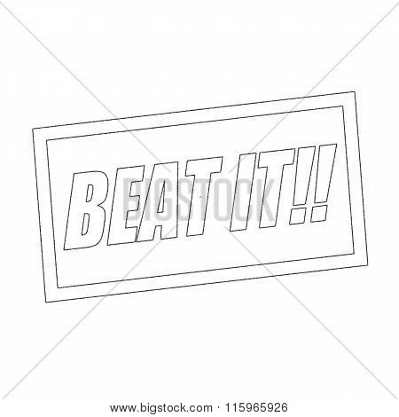 Beat It Monochrome Stamp Text On White