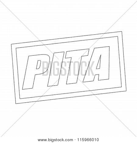 Pita Monochrome Stamp Text On White