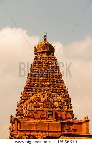 THANJAVUR January 25th, 2016 - Brihadeeswarar Temple main gopuram captured on a bright sunny day