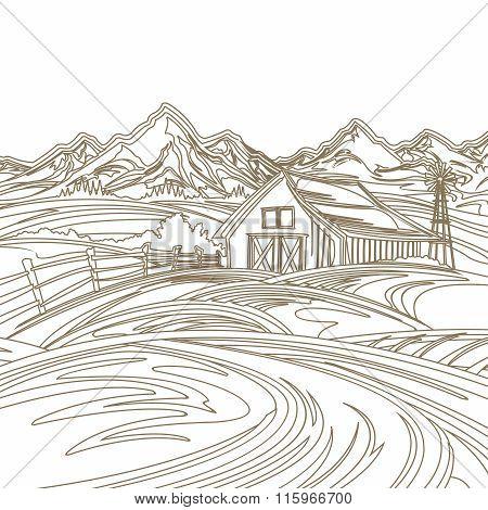 Vector Vintage Pencil Sketch Background for Farmland