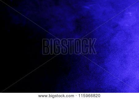 Abstract Blue Smoke Hookah And Water Drops.