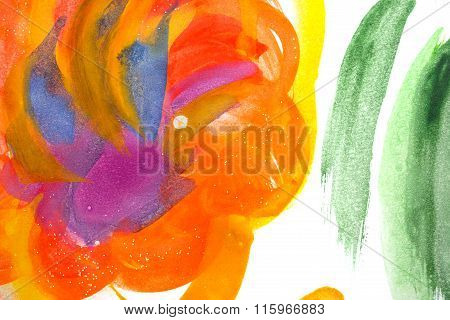 Abstract Flower In Childish Style.