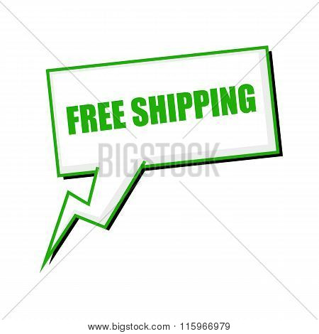 Free Shipping Green Stamp Text On White Speech Bubbles