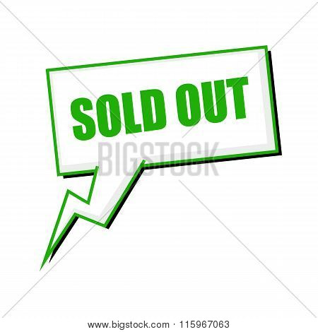 Sold Out Green Stamp Text On White Speech Bubbles