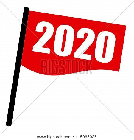 2020 White Stamp Text On Red Flag