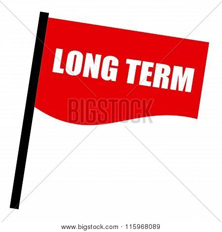 Long Term White Stamp Text On Red Flag
