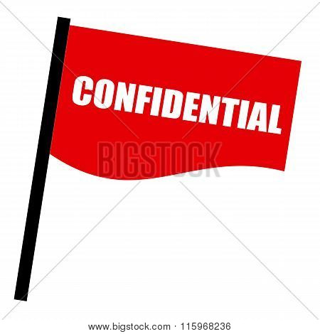 Confidential White Stamp Text On Red Flag