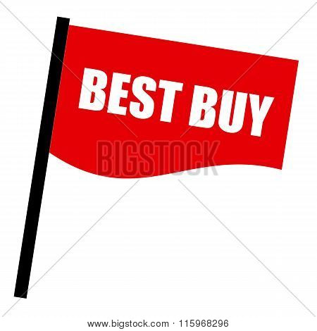 Best Buy White Stamp Text On Red Flag