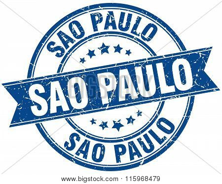 Sao Paulo blue round grunge vintage ribbon stamp