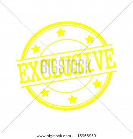 Exclusive Yellow Stamp Text On Yellow Circle On A White Background And Star