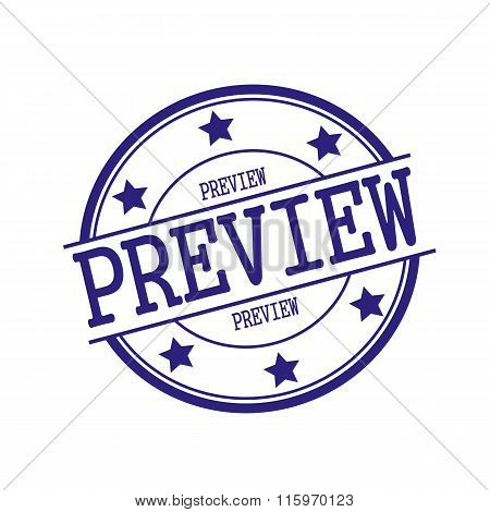 Preview Blue-black Stamp Text On Blue-black Circle On A White Background And Star