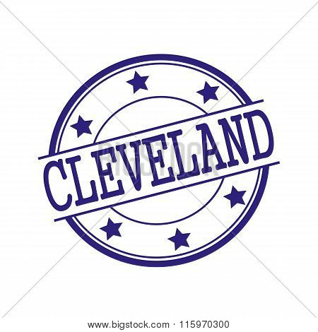 Cleveland Blue-black Stamp Text On Blue-black Circle On A White Background And Star