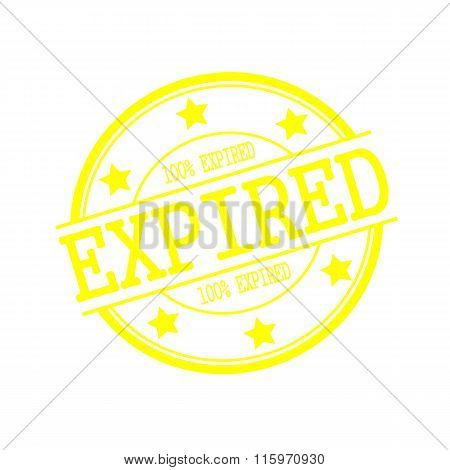 Expired Yellow Stamp Text On Yellow Circle On A White Background And Star