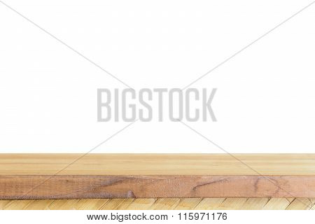 Empty light wood table top isolate on white background Leave space for placement you background