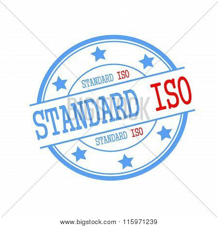 Standard Iso Stamp Text On Blue Circle On A White Background And Star