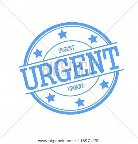 Urgent Blue Stamp Text On Blue Circle On A White Background And Star