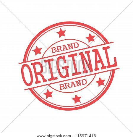Original Brand Red Stamp Text On Red Circle On A White Background And Star