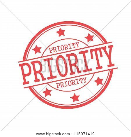 Priority Red Stamp Text On Red Circle On A White Background And Star