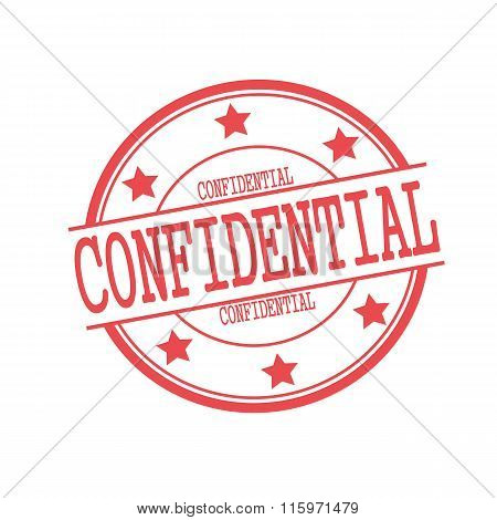Confidential Red Stamp Text On Red Circle On A White Background And Star