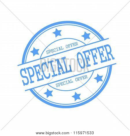Special Offer Blue Stamp Text On Blue Circle On A White Background And Star