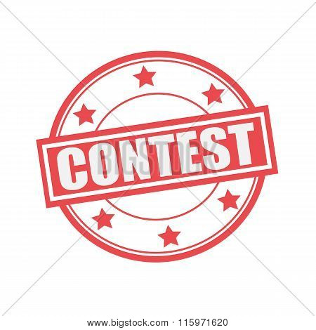 Contest White Stamp Text On Circle On Red Background And Star