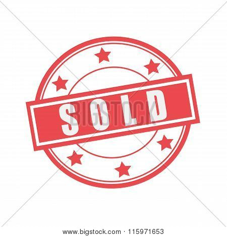 Sold White Stamp Text On Circle On Red Background And Star