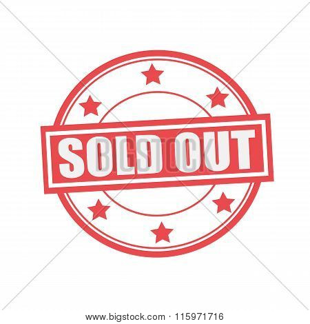 Sold Out White Stamp Text On Circle On Red Background And Star