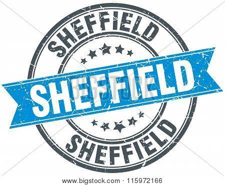 Sheffield blue round grunge vintage ribbon stamp