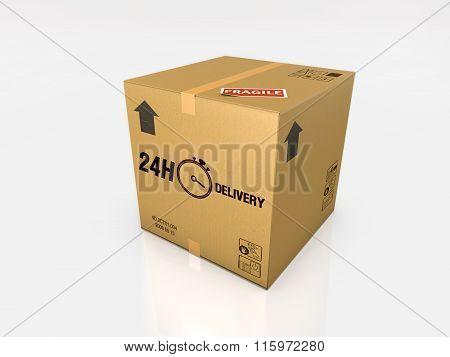 isolated cardboard box on white background