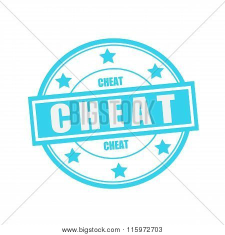 Cheat White Stamp Text On Circle On Blue Background And Star