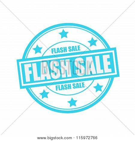 Flash Sale White Stamp Text On Circle On Blue Background And Star