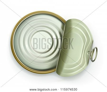 Open tin can, top view vector icon