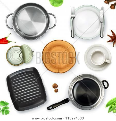 Kitchen utensils, top view vector object