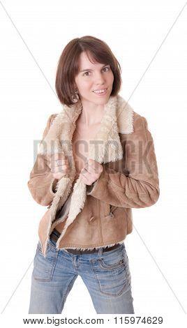 Sensual Girl In A Sheepskin Coat