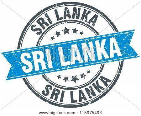 Sri Lanka Blue Round Grunge Vintage Ribbon Stamp