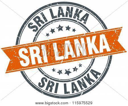 Sri Lanka orange round grunge vintage ribbon stamp