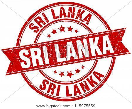 Sri Lanka Red Round Grunge Vintage Ribbon Stamp