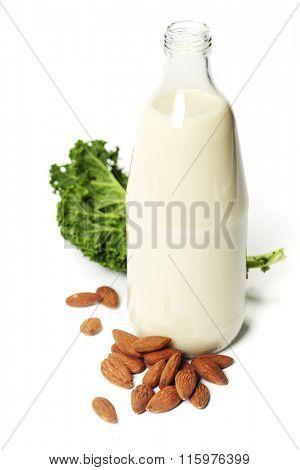 Almond milk and kale- superfoods, vegan, vegetarian, detox concept