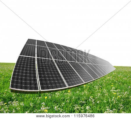 Solar energy panels on meadow. Clean energy.