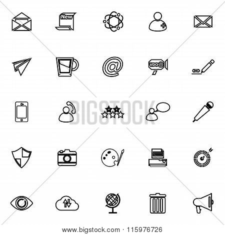 Message And Email Line Icons On White Background