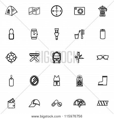 Camping Necessary Line Icons On White Background